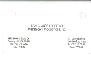 Business card of Jean-Claude Friederich