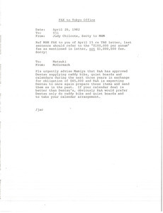 Fax from Judith A. Chilcote to Tokyo office