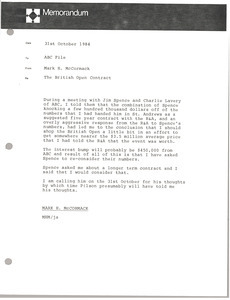 Memorandum from Mark H. McCormack to ABC file