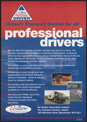 Usdaw's Transport Section for all professional drivers