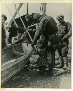 Lapps in northern Norway, building a boat