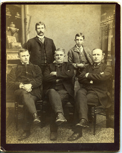 Group portrait of Marquis F. Dickinson, Sr., Marquis F. Dickinson, Jr., Walter M. Dickinson, Charles Dickinson, and Asa W. Dickinson (clockwise from center front)