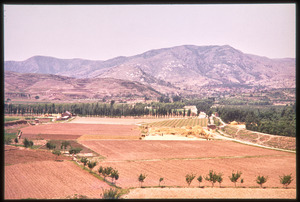 Aerial view of cultivated fields, mountains behind