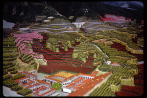Agricultural exhibition(?): model of village and landscape