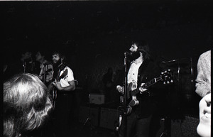 Beach Boys at Boston College: from left, Dennis Wilson, Blondie Chaplin, Al Jardine, Carl Wilson, and Mike Love mostly out of frame