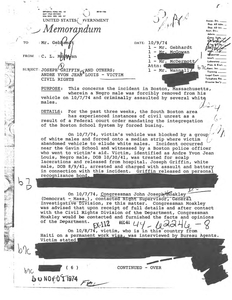Correspondence and memoranda regarding the FBI examination of attacks on Andre Yvon Jean Louis in October 1974, and Theodore Landsmark in April 1976