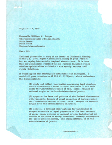 Letter from John Joseph Moakley to William M. Bulger, Massachusetts State Senate, regarding request for inquiry into racially-motivated violence in Boston, 3 September 1975