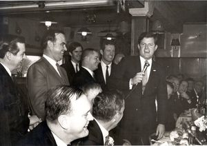 """John Joseph Moakley and Edward M. """"Ted"""" Kennedy at Saint Patrick's Day Luncheon in South Boston, Mass., 1960s"""