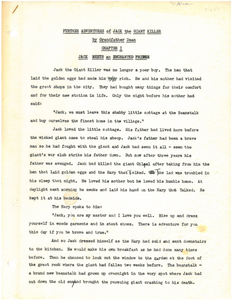 Further Adventures of Jack the Giant Killer, draft manuscript of a short story by Gleason Leonard Archer