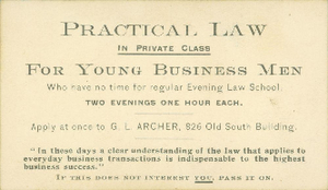 Business card of Gleason L. Archer (President, 1937-1948, and Founder of Suffolk University)