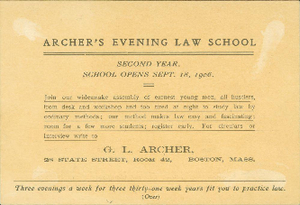 Archer's Evening Law School advertisement