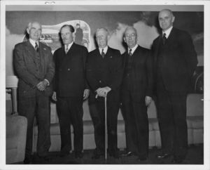 "Gleason L. Archer (President, 1937-1948, and Founder of Suffolk University, pictured far right) with the ""Granddaddies of Radio"""