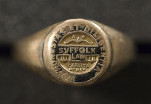 Gleason L. Archer's (President, 1937-1948, and Founder of Suffolk University) Suffolk Law School ring