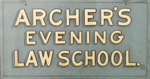 """Archer's Evening Law School"" sign"