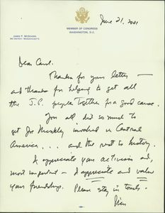 Thank you letter from Representative James P. McGovern to Carol Pryor related to her work with the Jamaica Plain Committee on El Salvador