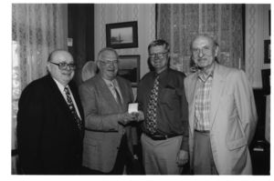 Frederick Wilkins with Michael Ronayne, Stephen Black, and Arthur Gelb at the Frederick Wilkins retirement tribute at Monte Cristo cottage