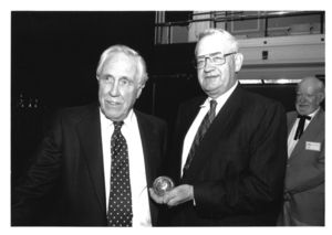 Frederick Wilkins and Jason Robards at the Eugene O'Neill Conference awards ceremony