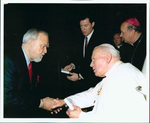 John Joseph Moakley with Pope John Paul II on a congressional trip to the Vatican, January 2001