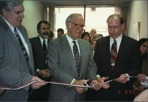 John Joseph Moakley, Gerry Studds, and Brockton Mayor Winthrop H. Farwell at Brockton District Office opening, 9 February 1993