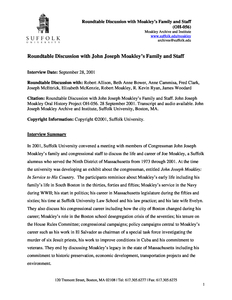 Roundtable discussion with John Joseph Moakley's family and staff (OH-056, audio recording and transcript)