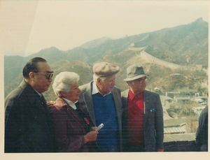 Tip O'Neill and others on the Great Wall of China as part of a congressional delegation to China, 3 April 1983