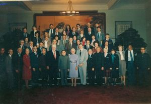 Group photograph of John Joseph Moakley, Tip O'Neill, and other members of a congressional delegation to China, 1983