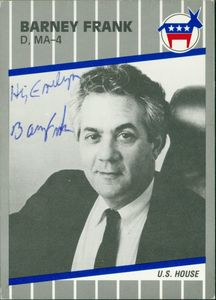 Congressman Barney Frank (D-MA, District 4), 101st Congress trading card, front (signed with note to Evelyn Moakley
