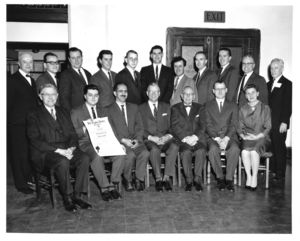 Suffolk University students and faculty at a Phi Alpha Theta chapter event, 1962