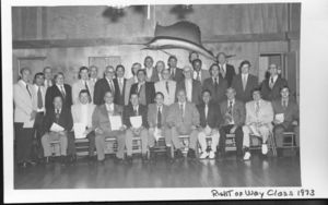 Attendees at Suffolk University School of Management's 1973 Right of Way Class
