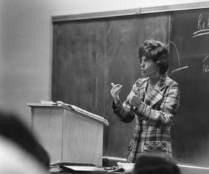 Suffolk University Professor Catherine T. Judge (Law) lecturing in classroom