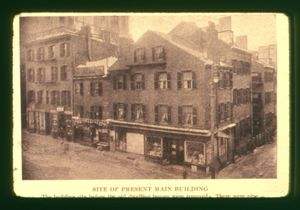 View of the corner of Derne Street and Temple Street, at the future site of Suffolk University's Archer Building (20 Derne Street)