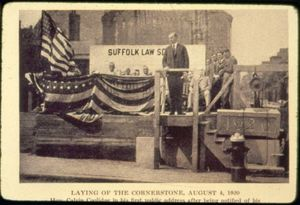 Massachusetts Governor Calvin Coolidge and attendees at the cornerstone laying ceremony for Suffolk University's Archer Building (20 Derne Street)