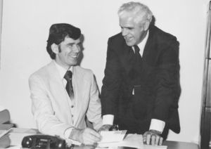 Suffolk University Athletics Director James E. Nelson with Director of Public Relations Louis B. Connelly