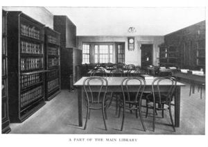 View of reading room in Suffolk University's main library