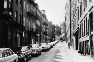 View of Temple Street, looking towards Derne Street and Massachusetts State House steps