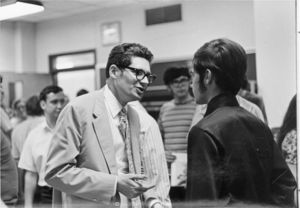Suffolk University Vice President Donald Grunewald (1969-1972) talking with students