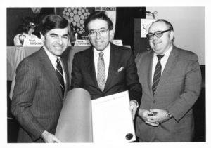 Governor Michael Dukakis, President Daniel H. Perlman (1980-1989), and Dean Michael R. Ronayne at the Suffolk University's College of Liberal Arts and Sciences CLAS 50th Anniversary Colloquium