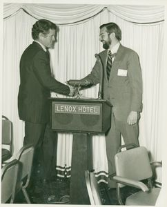 US Senator Edward M. Kennedy and Dean Richard McDowell at a School of Management (SBS) Development of Public Managers event