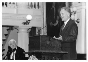 Economist Lester C. Thurow speaks at a Suffolk University event held at the Old State House