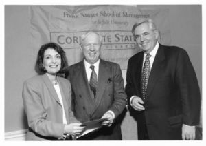Suffolk University Trustee and Keynote Speaker, Edward F. McDonnell (center), is welcomed by President David J. Sargent (1989-2010) and Vice President Marguerite Dennis at a campus event