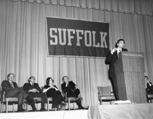Ralph Nadar speaking at a Suffolk University event