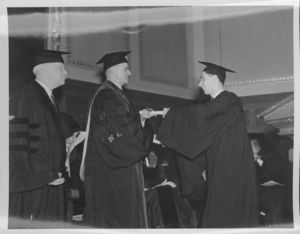 Paul L. Smith receives his Bachelor of Laws at the 1937 Suffolk University commencement