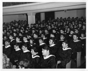 View of the audience at the 1969 Suffolk University commencement