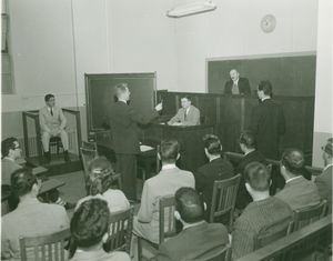Mock trial at Suffolk University Law School's moot court, circa 1940s