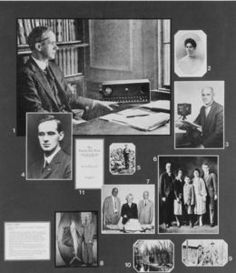 Collage of images related to Suffolk University President Gleason L. Archer (1906-1948) and his family