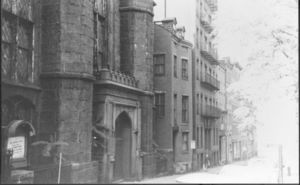 View of Temple Street, showing the old First Methodist Church that stood on the site of Suffolk 's University's Donahue Building (41 Temple Street)