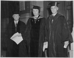 Thomas J. Boynton, President, Board of Trustees; Dean Donald W. Miller (CLAS); and President Gleason L. Archer (1906-1948) at the 1937 Suffolk University commencement
