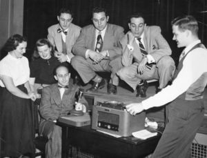 Members of Suffolk University's student radio club, circa 1953