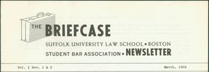 Header portion of The Briefcase, the newsletter of the Suffolk University Law School Student Bar Association