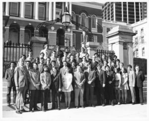 Members of Suffolk University Law Review in front of the Massachusetts State House, 1974
